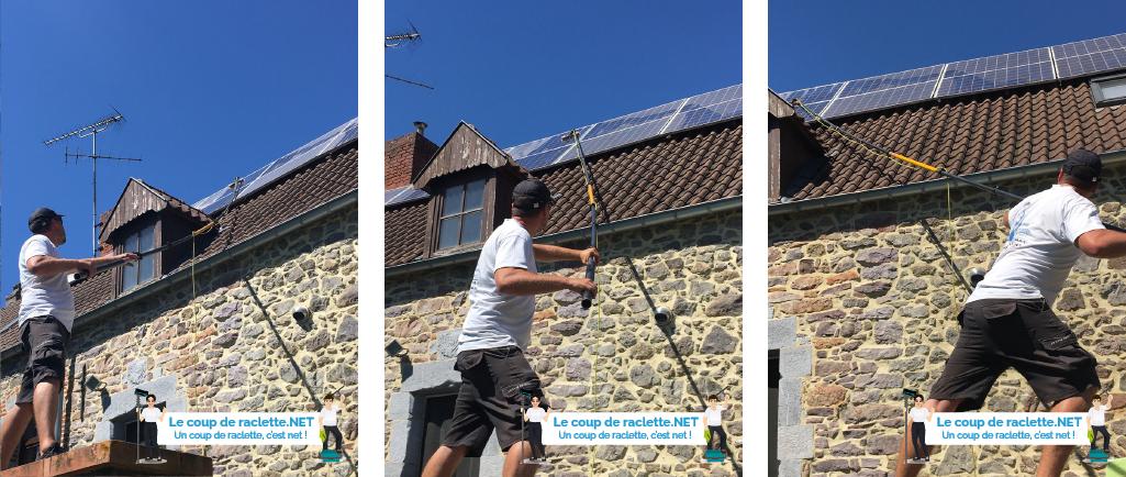 Panneaux solaires photovoltaïques avec lichens nettoyage accès difficile