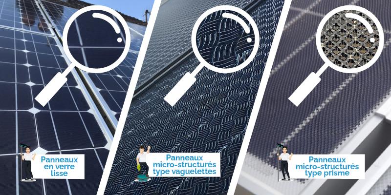 panneaux solaires lisses vs types de micro strcuturé