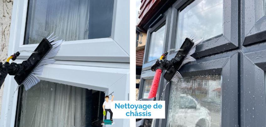 Nettoyage à l'eau pure de châssis de fenêtre et de vitres