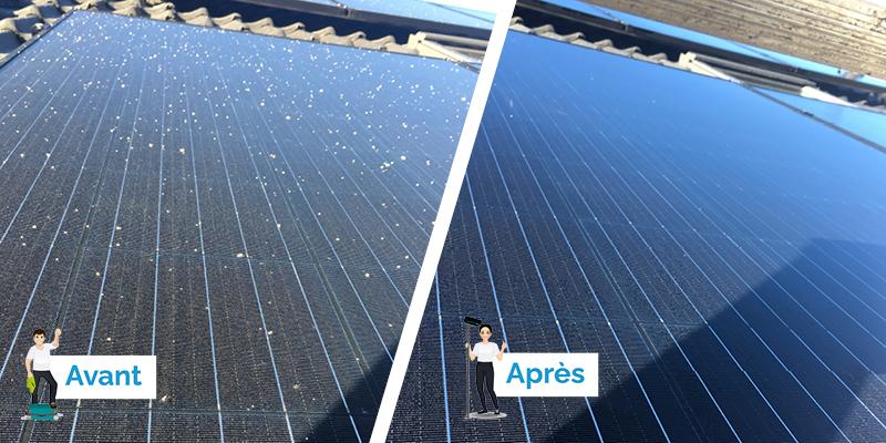gouttes béton sur panneaux solaires photovoltaïques avant - après